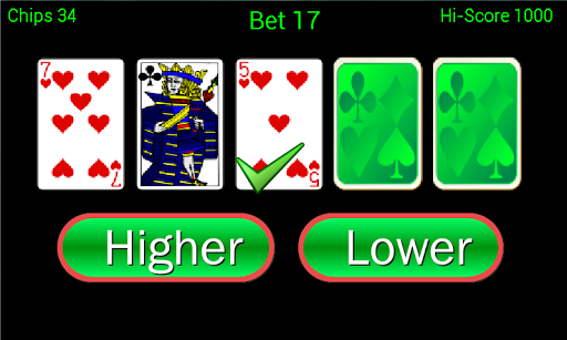 Higher or Lower Pro card game