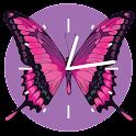 Pink Butterfly Clock logo