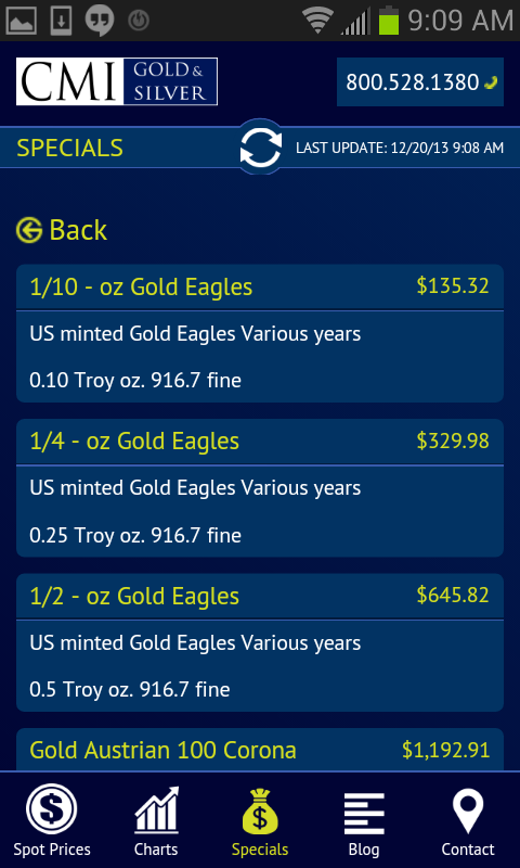 CMI Prices- screenshot