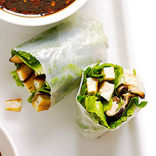 Crisp Tofu, Shiitake, and Spinach Summer Rolls