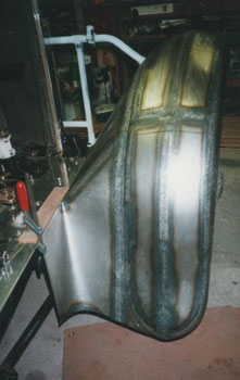 1930 Sunbeam 18.2 FHC nearside front wing in construction
