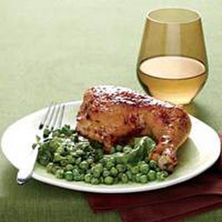 Lemon-Garlic Chicken with Hot Buttered Peas 'n' Lettuce.