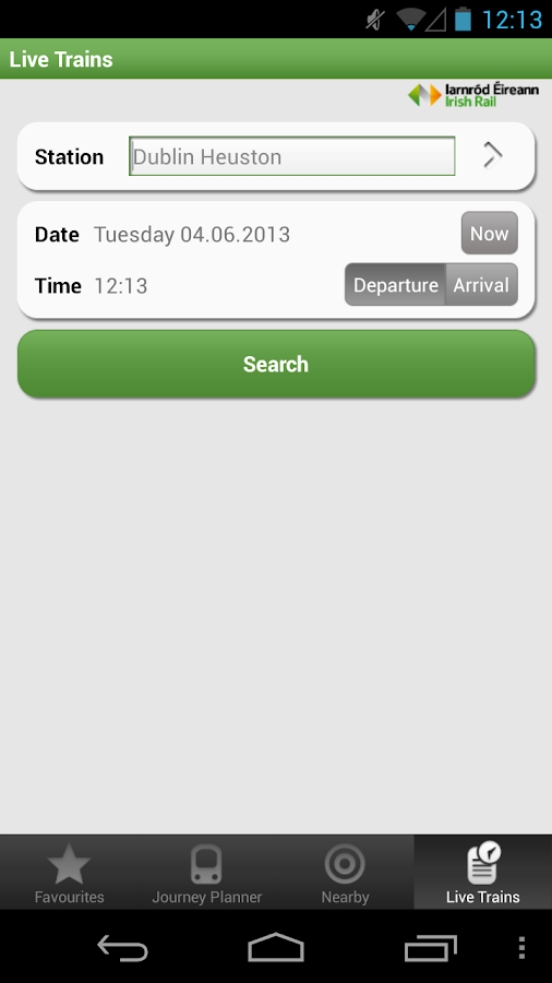 Iarnrod Eireann Irish Rail App- screenshot