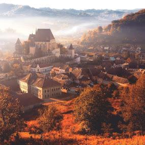 spirit of Biertan by Nicu Hoandra - City,  Street & Park  Historic Districts ( village, fog, autumn, colours )