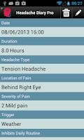 Screenshot of Headache Diary Pro