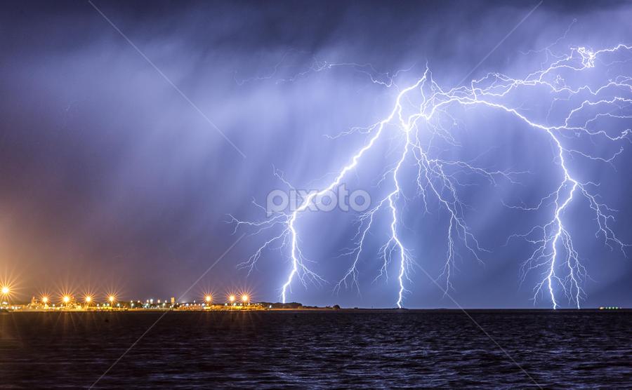 Navel Base Strike by Steve Brooks - Landscapes Weather ( canon, lightning, weather, rockingham, cloud, ocean, navy, storms, garden island, rain, western australia, navel base,  )