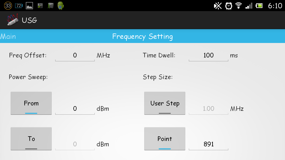 USB signal generator mobile - screenshot