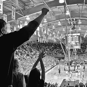 UP by David Goss - Black & White Sports ( b&w, indoor, basketball indoor, team, sfx, duke university, cameron arena basketball, silver efex pro 2, borderfx, full dynamic_harsh, action, sep2, cameron arena basketball indoor )