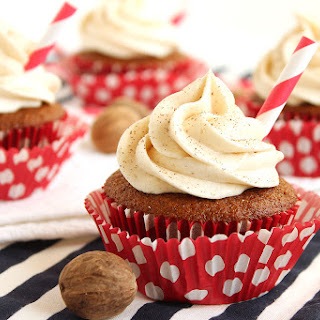 Gingerbread Latte Cupcakes with Eggnog Buttercream Frosting