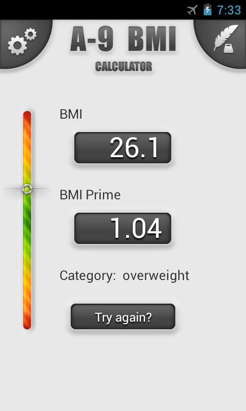 A-9 BMI Calculator - screenshot