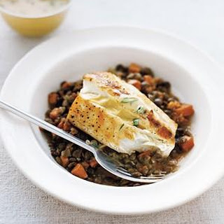 Halibut With Lentils and Mustard Sauce