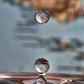 The world in a drop  by Derk Jansen - Abstract Water Drops & Splashes ( water, drop, earth, globe )