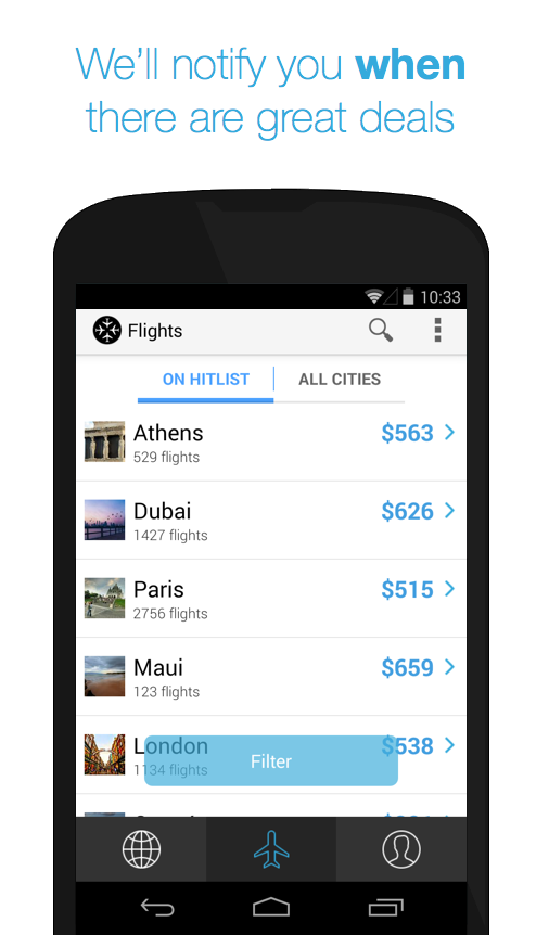 Hitlist - Cheap Flights - screenshot