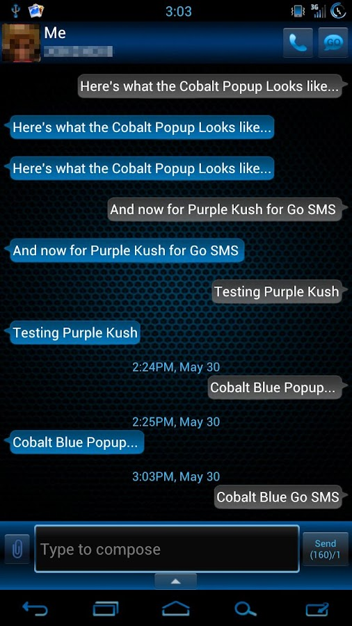 GO SMS Pro Cobalt Blue Theme - screenshot