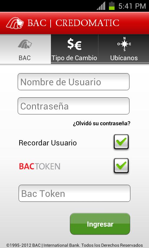 Mobile Banking BAC Credomatic - screenshot