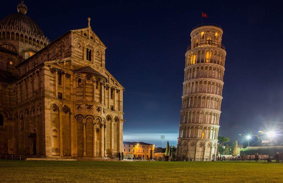 Lean by Michael Strier - Buildings & Architecture Public & Historical ( rome, leaning tower, long exposure, night, pisa,  )