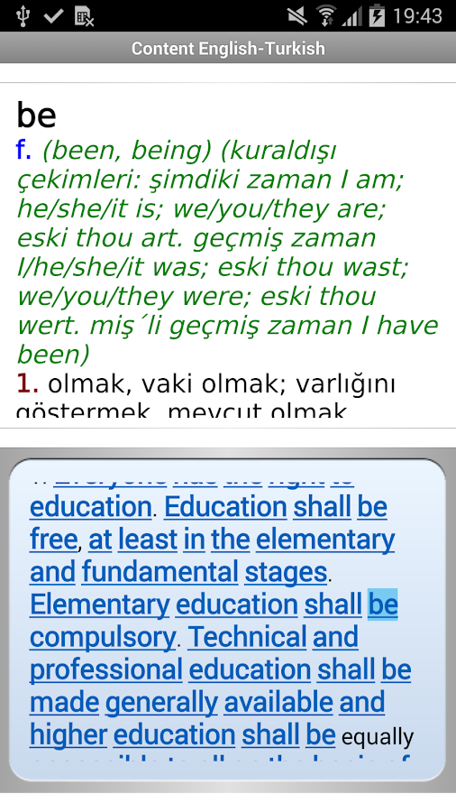 English<->Turkish dictionaries- screenshot