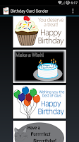 Screenshot of Birthday Card Sender