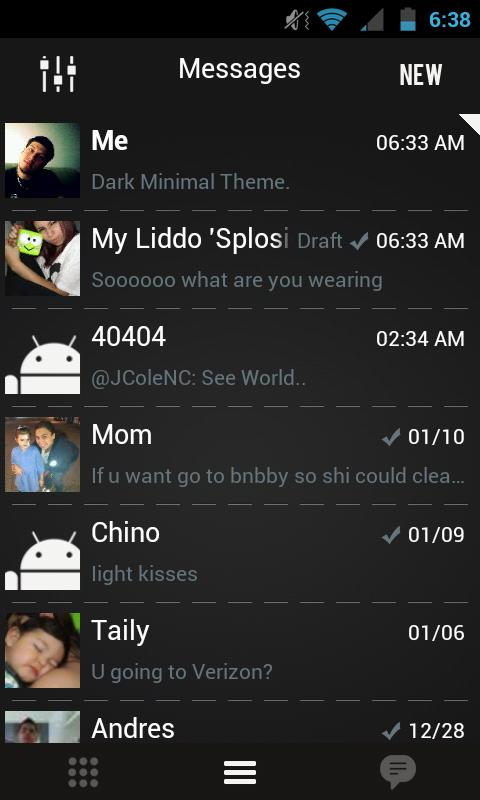 Go SMS Theme Dark Minimal - screenshot