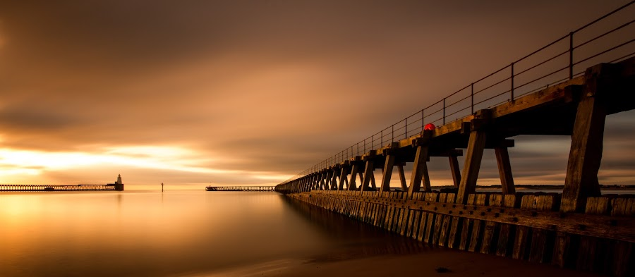 Sunrise at Blyth harbour  by Richard Armstrong - Buildings & Architecture Bridges & Suspended Structures ( northumberland, northsea, harbour, long exposure, 10 stop filter, sunrise, blyth pier, blyth, relax, tranquil, relaxing, tranquility )