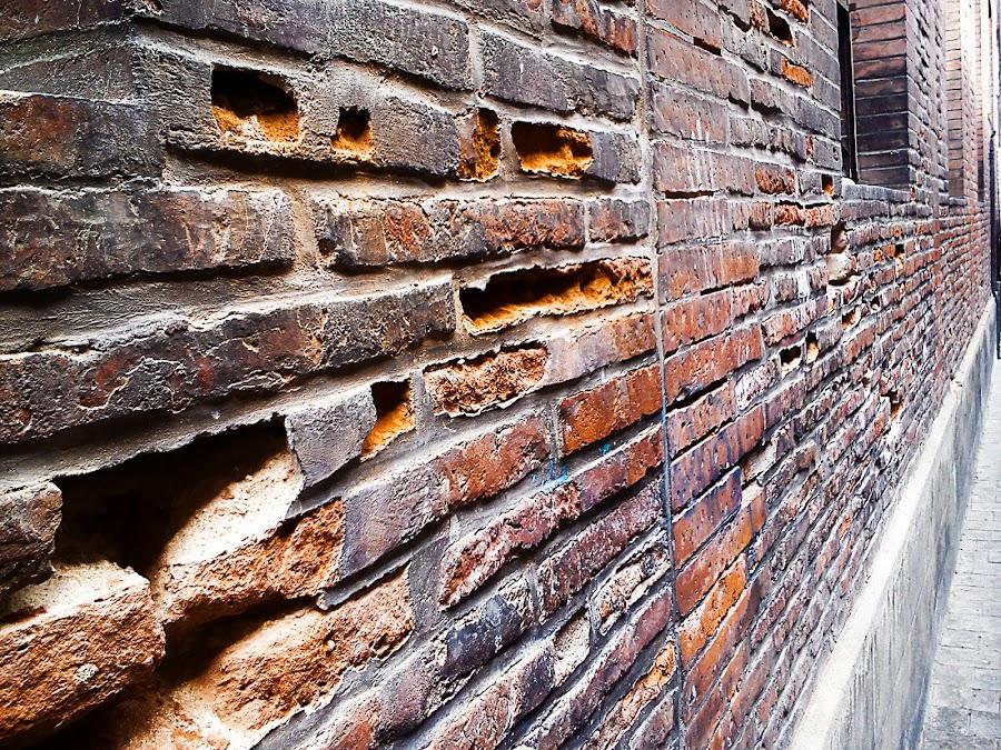 Bricks by Alexandra Rafaila - Abstract Macro ( toulouse, old, building, brick, street, france, house, wall,  )