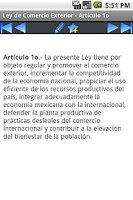 Screenshot of Ley de Comercio Exterior