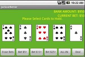 Screenshot of Jacks or Better Video Poker