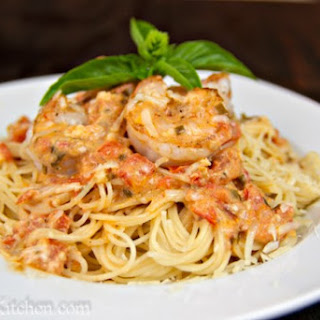 Spaghetti with Shrimp in a Creamy Tomato Sauce.