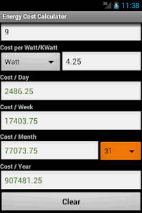 Energy Cost Calculator - screenshot thumbnail