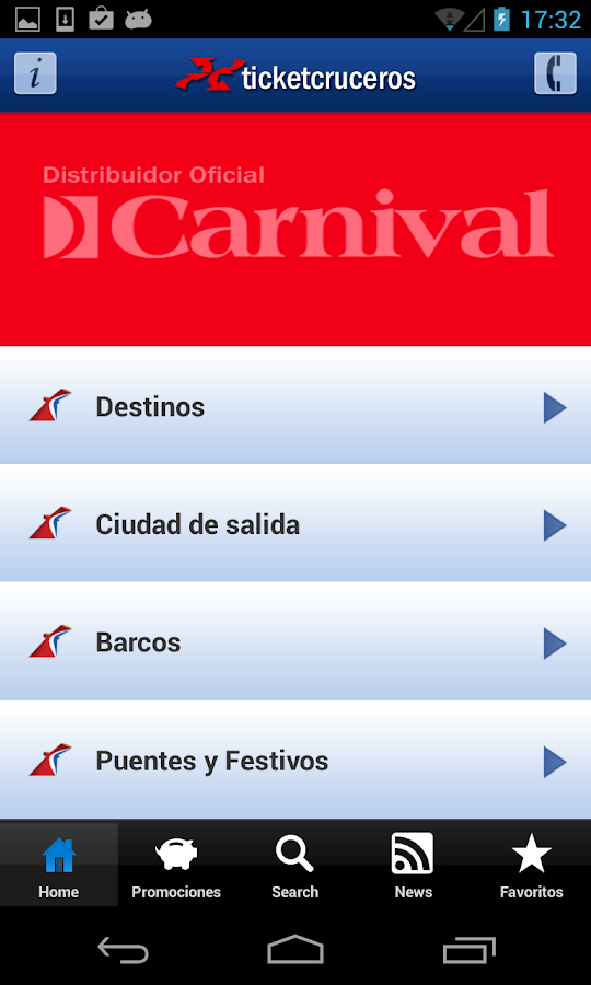 Ticketcarnival - Cruceros: captura de pantalla