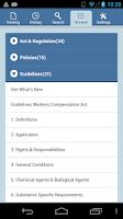 Screenshot of OHS Regulation Mobile App