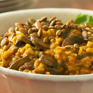 Curried Pumpkin and Mushroom Risotto.