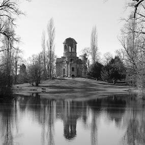 Mercury Temple by Birgit Vorfelder - Black & White Buildings & Architecture ( temple, mirrored reflections, water, schwetzingen, black and white, castle gardens, ruin,  )