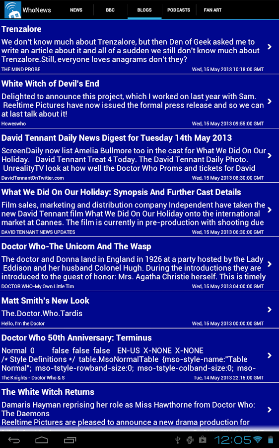 Doctor Who WhoNews Lite- screenshot