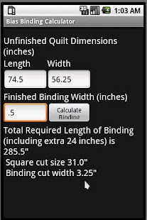 Bias Binding Calculator - screenshot thumbnail