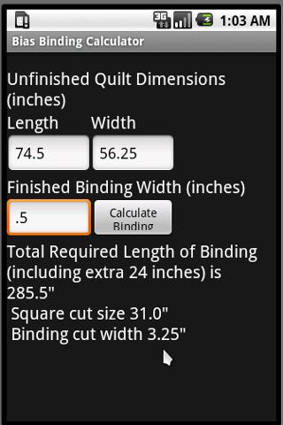 Bias Binding Calculator - screenshot