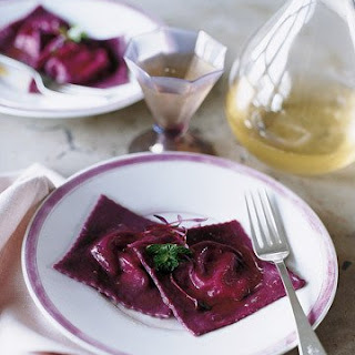 Beet Ravioli Stuffed with Ricotta, Goat Cheese, and Mint