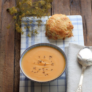 Carrot and Sweet Potato Soup with Hazelnut and Smoked Bacon Scones