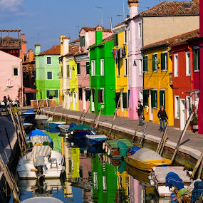 Colorful Burano by Dobrinovphotography Dobrinov - City,  Street & Park  Street Scenes ( europe, famous place, house, architecture, travel, cityscape, multi colored, city, townhouse, color image, cottage, no people, veneto, homes, italy, travel destinations, travel locations, western europe, burano, tourism, italian culture, architecture and buildings, urban scene, southern europe, building exterior, row house, facade, venice - italy, horizontal, outdoors, residential structure, built structure, bungalow, panoramic,  )