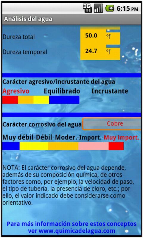 Análisis del agua- screenshot