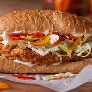 Chicken-Fried Chicken and Pickled Pepper Sandwiches.