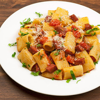 Rigatoni with Salami and Red Wine Sauce