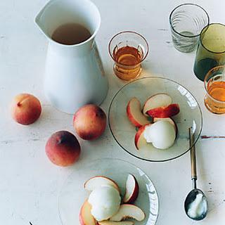 Ice-Wine Sorbet with White Peaches.