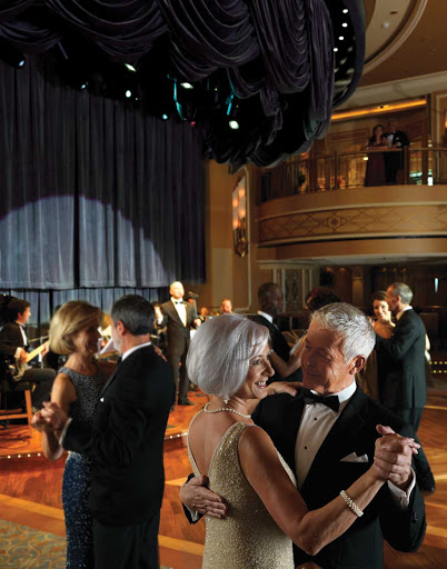Cunard-Queen-Elizabeth-Queens-Room - Visit the elegant Queen's Room aboard Queen Elizabeth for  afternoon tea or to wing your way across the dance floor as a live orchestra performs.
