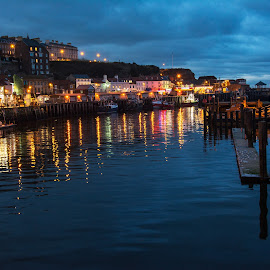 Whitby at Night by Darrell Evans - Buildings & Architecture Other Exteriors ( water, lights, harbor, yorkshire, boats, buildings, sea, night, whitby, , city )