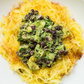 Tex Mex Spaghetti Squash with Black Bean Guacamole