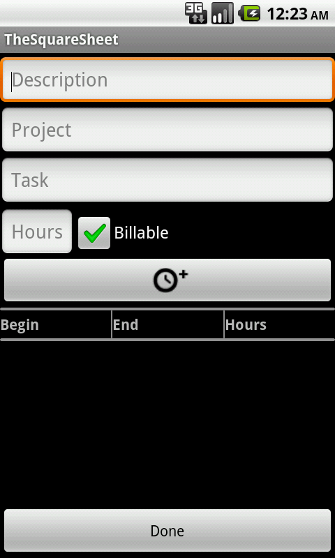 Timesheet - TheSquareSheet - screenshot
