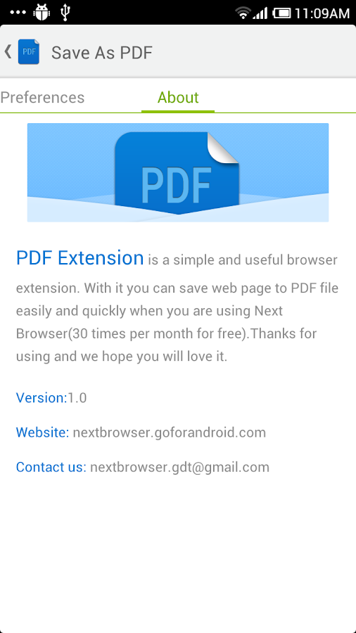 PDF for Next Browser - screenshot