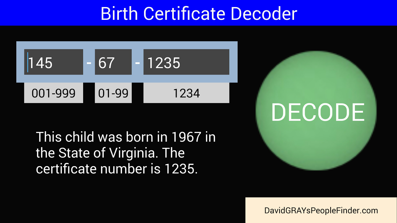 Birth certificate decoder android apps on google play birth certificate decoder screenshot aiddatafo Gallery