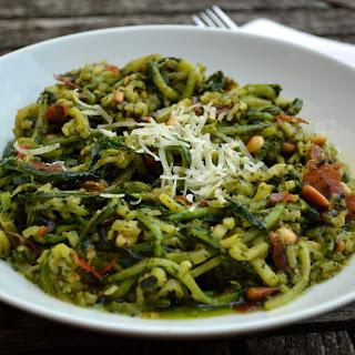 Pesto Zucchini Noodles with Prosciutto & Pine Nuts
